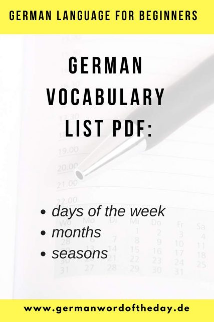 German days, months and seasons vocabulary list pdf