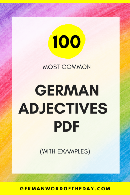 top 100 german adjectives PDF most common